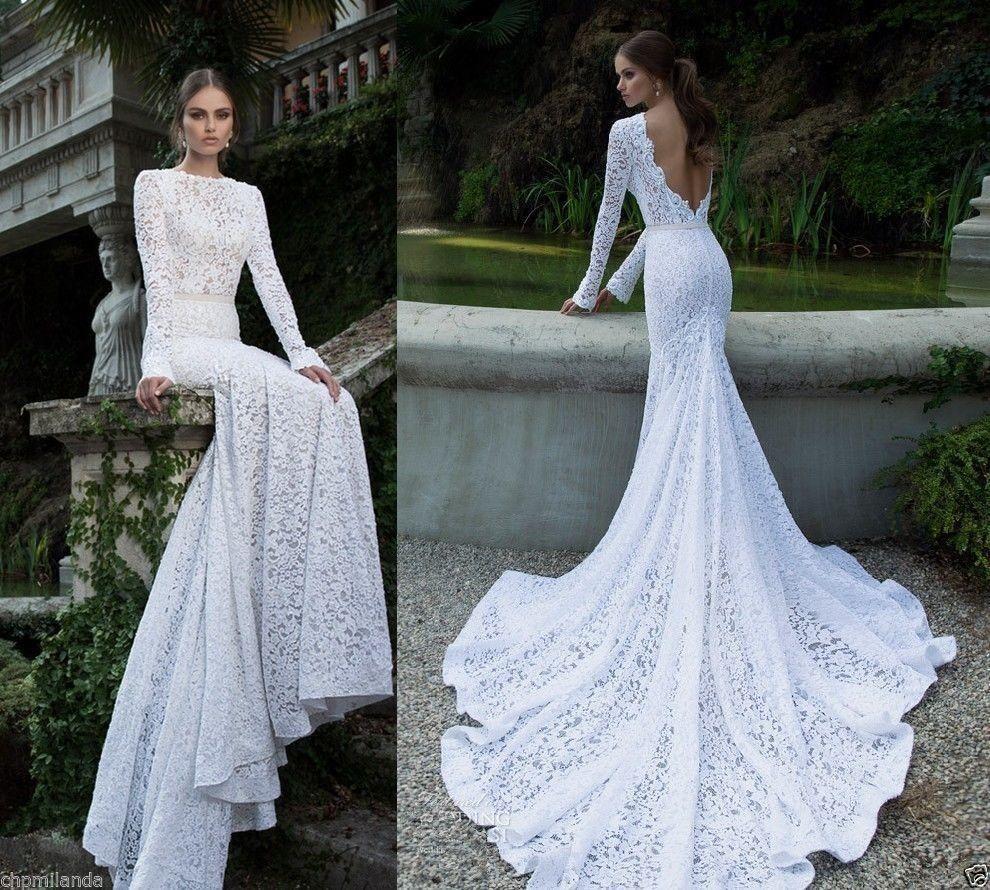 Elegant lace mermaid white ivory wedding dress custom
