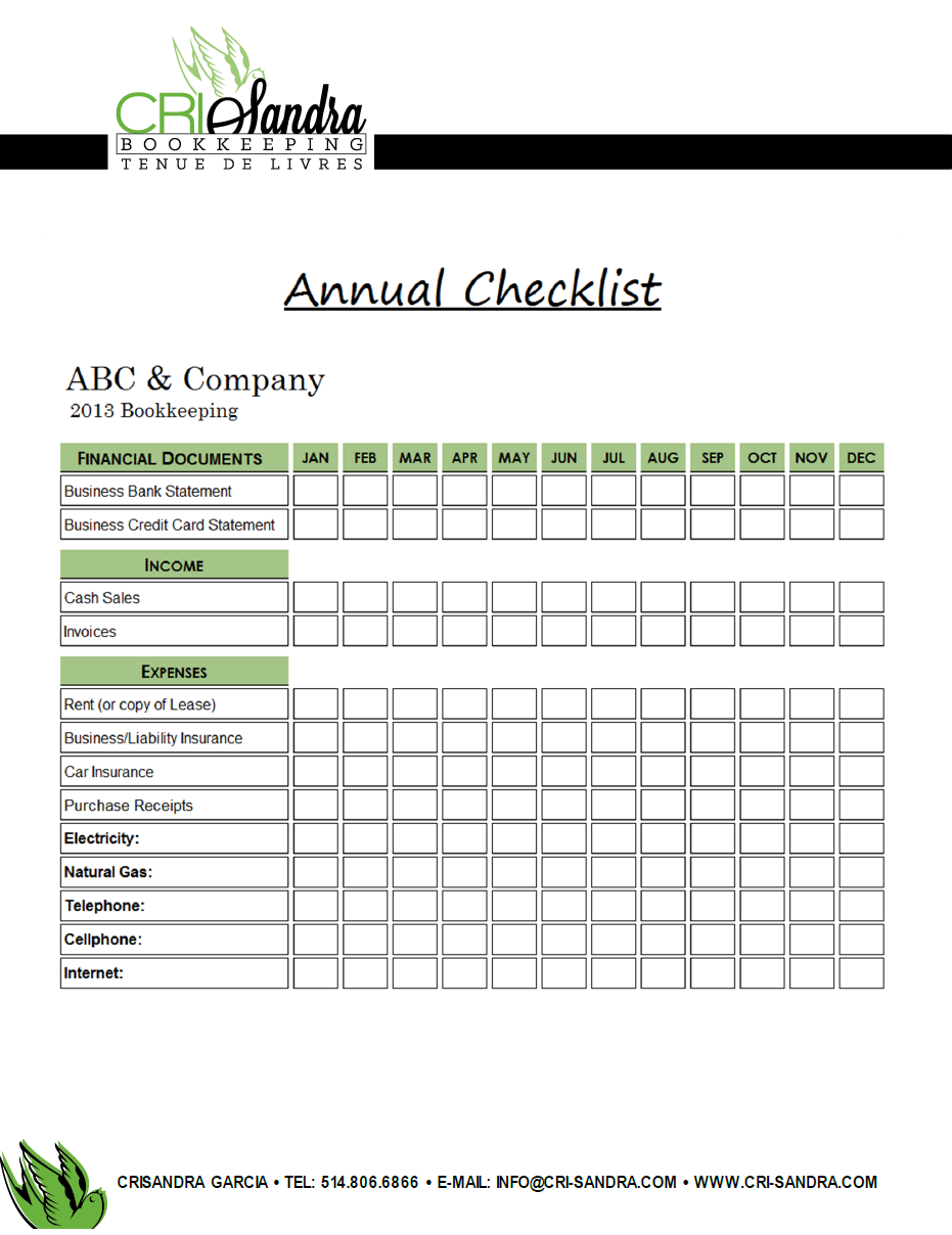 Annual bookkeeping checklist example of a checklist that i created annual bookkeeping checklist example of a checklist that i created for a client to help collect 1betcityfo Image collections