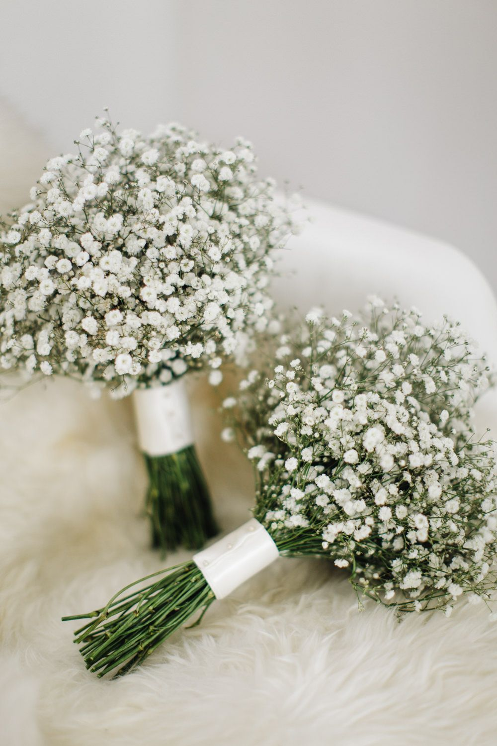 Gypsophila Bouquets - M&J Photography | Elegant London Wedding | White & Greenery Florals