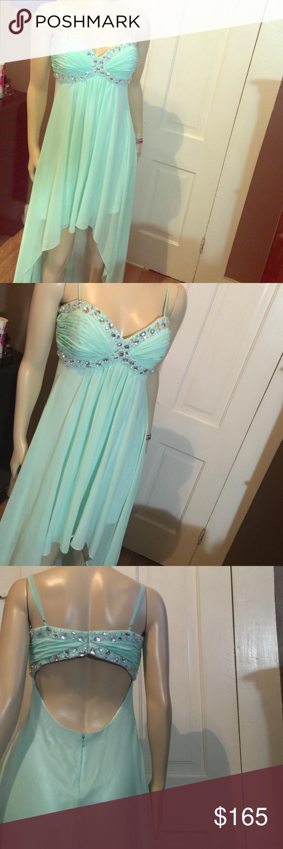 Saleb darlin jeweled mint high low formal gown silk slip