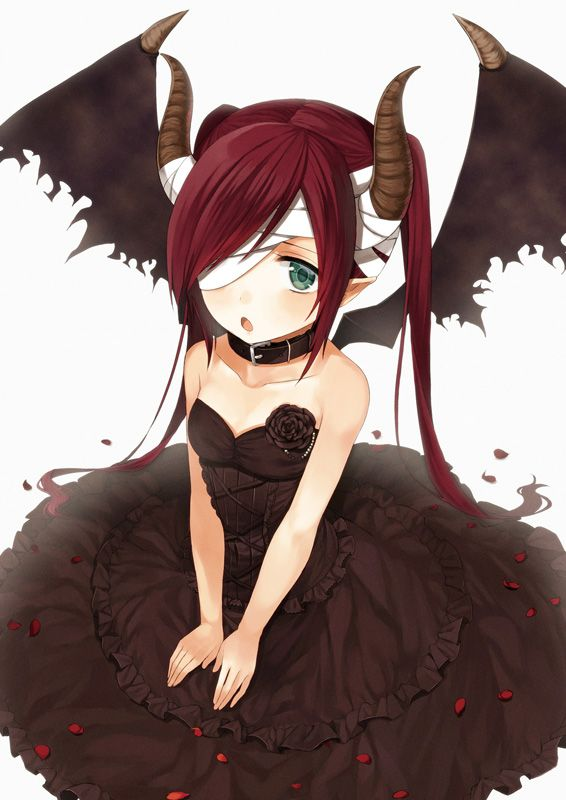 Anime Girl Demon With Red Hair, Green Eyes, Black Dress