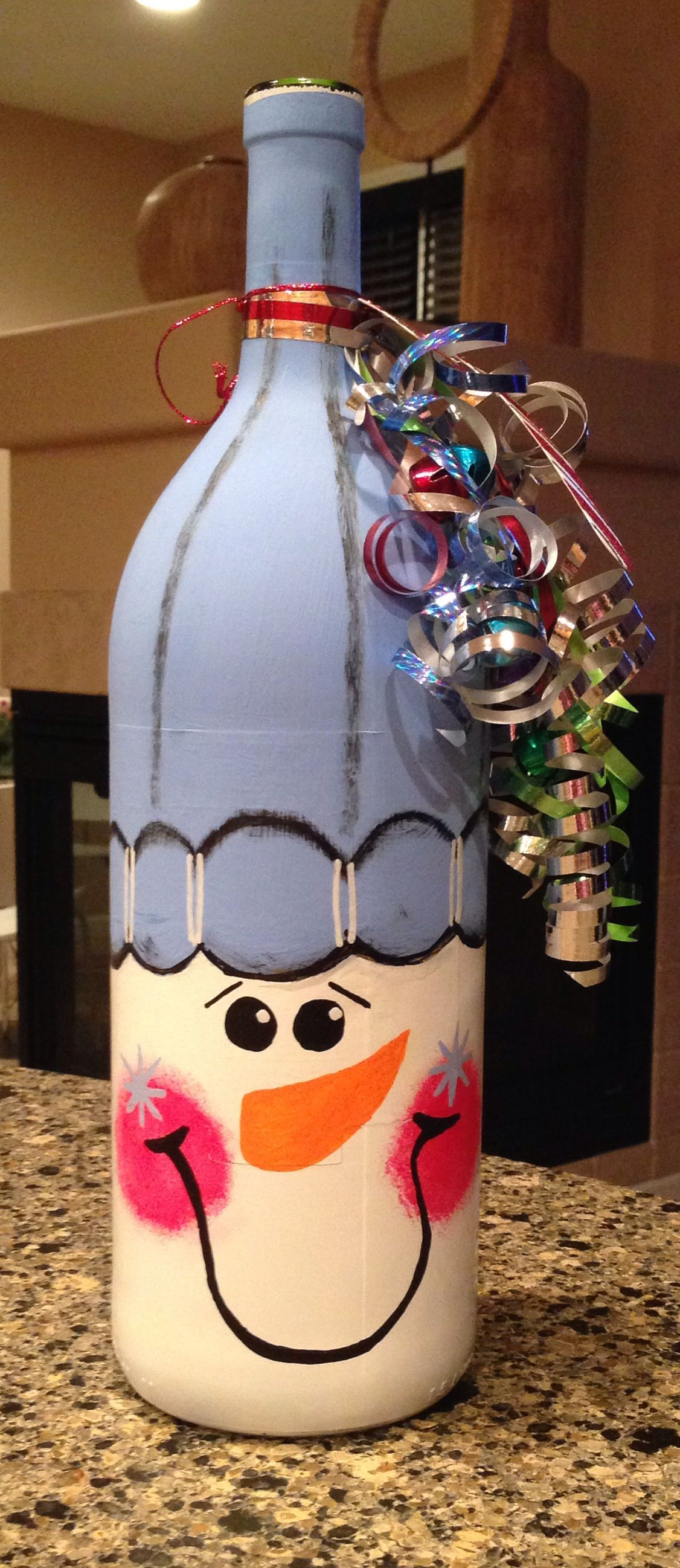 Snowman Painted On A Bottle Of Wine Give With Wine