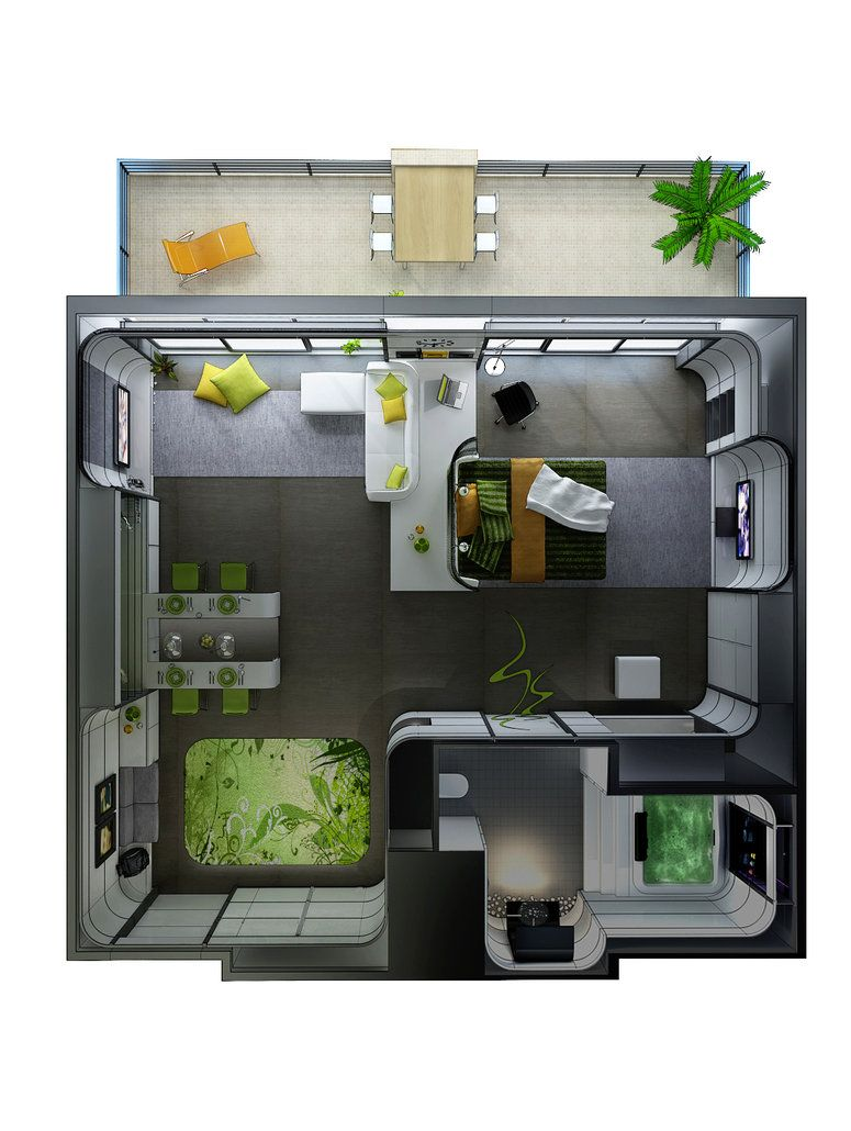 Plan Perspektif Tema By Vrlosilepa On Deviantart Studio Apartment Floor Plans Studio Apartment Layout 3d House Plans