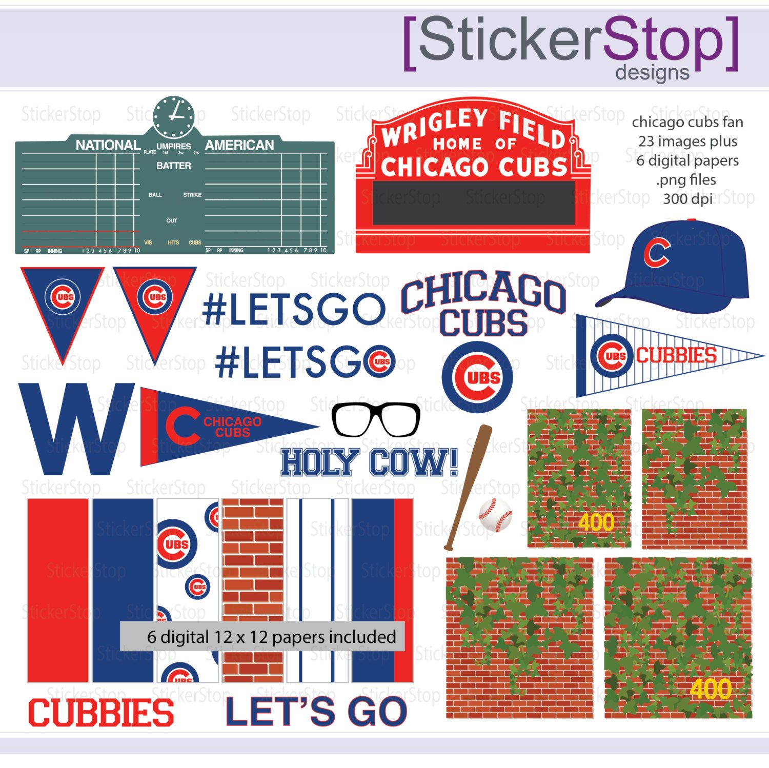 Chicago Cubs Fan Baseball Digital Clipart PLUS Paper Pack - Chicago map showing wrigley field
