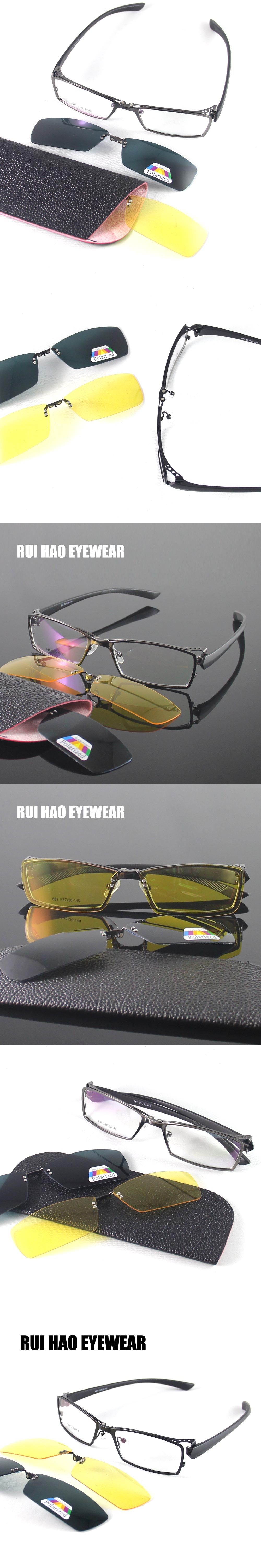 bfc48cd514 RUI HAO EYEWEAR Optical Eyeglasses Frame Men Women Full Rimless Design  Polarized sunglasses clip on Night