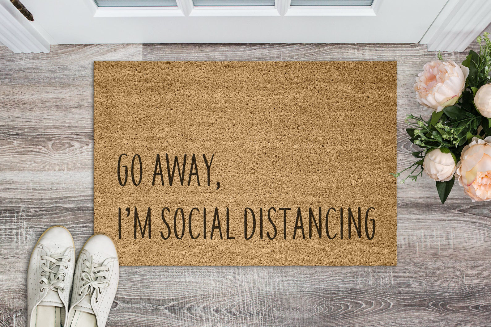 Go Away I M Social Distancing Door Mat Personalized Doormat Custom Door Mat Monogrammed Door Mat Custom Welcome Mat In 2020 Outdoor Paint Door Mat Hand Painted