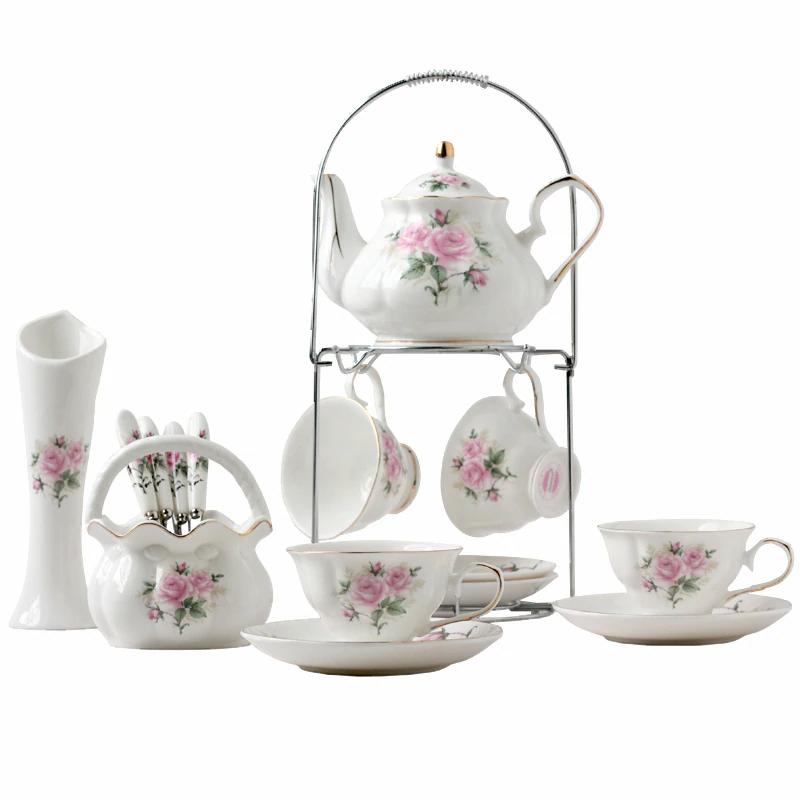 Luxury Coffee Cups Set Bone China Porcelain British Style Tea Cup Set Afternoon Teaware Tea Party Teapot Romantic Drinkin Porcelain Tea Set Tea Set Tea Cup Set