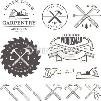 Set Of Vintage Carpentry Tools Labels And Design Elements Vector Art