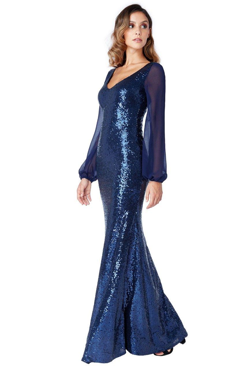 de58074e2080 Goddess navy paillet kjole med ærmer