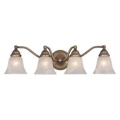 Photo of Budd 4-Light Vanity Light Finish: Antique Brass