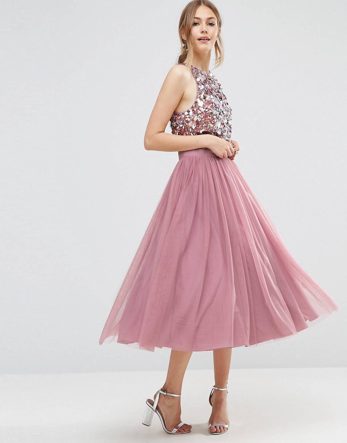 Cluster Embellished Mesh Crop Top Midi Dress | Pinterest