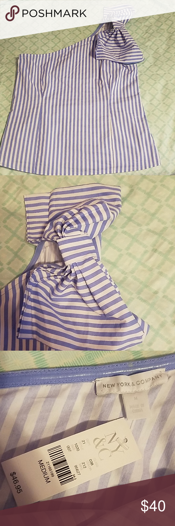 Ny Co Bow Detail One Shoulder Poplin Stripe Top New With Tag 7th Avenue Detailed On Striped Details Size Medium Side