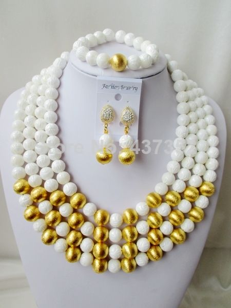 Charming Nigerian Bead Necklaces Wedding White Giant clam Beads Jewelry Set African Beads Jewelry Set CWS1098 $98.68