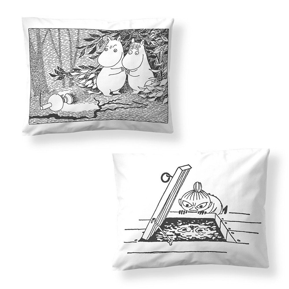 These black and white pillowcases will make sure you get your beauty sleep. Create a style of your own by combining with different patterns and colors. The Moomin bed linens are inspired by Tove Jansson's original drawings from Moominsummer Madness and are authentic ©Moomin Characters™ licensed products. Pillow case 55 x 65 cm.Nämä mustavalkoiset tyynyliinat pitävät huolen siitä, että saat tarvitsemasi kauneusunet. Luo oma tyylisi yhdistelemällä eri väreihin ja kuvioihin. Muumi-lakanat on…