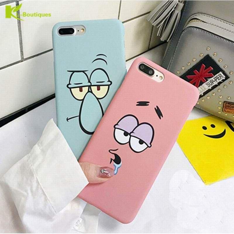 KL-Boutiques Cartoon Case For iphone 5 5s Cases Funny Face Couples Back Cover For Fundas iPhone 6 6S 7 8 Plus Hard PC Case Coque