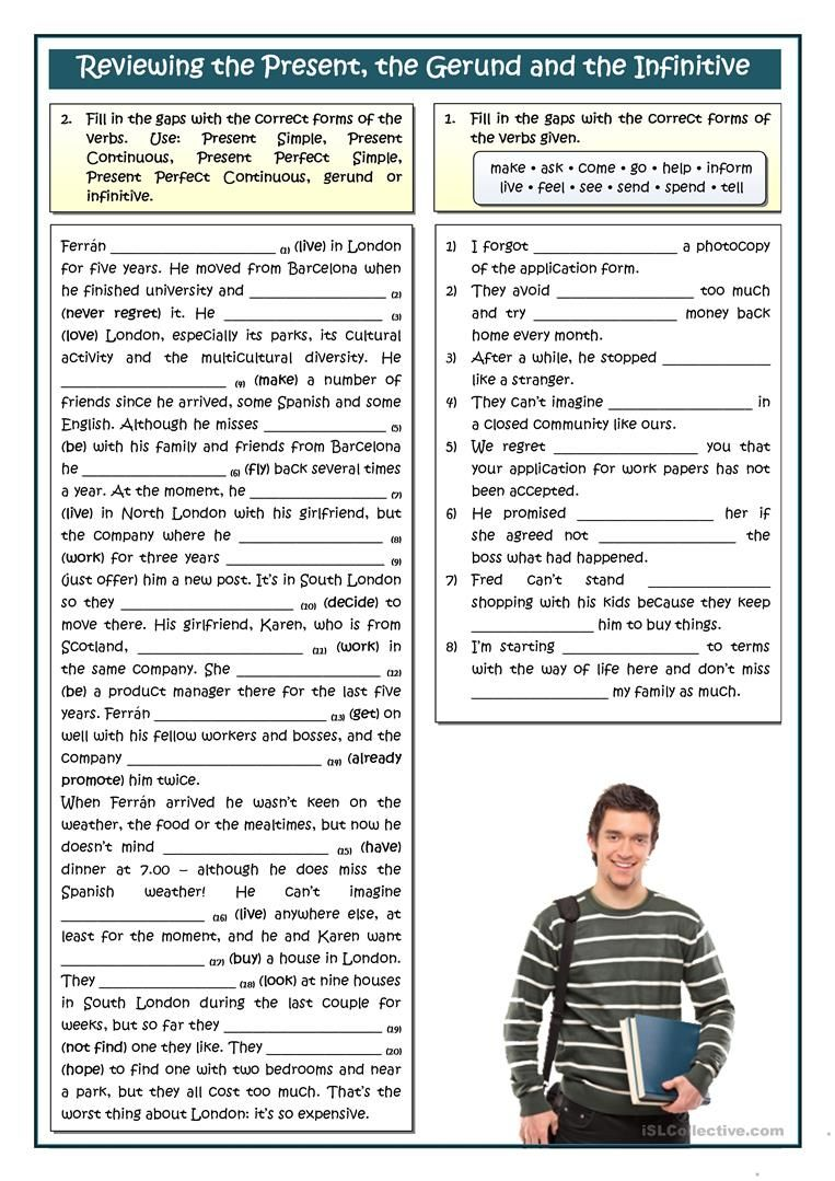 REVIEWING THE PRESENT - GERUND OR INFINITIVE worksheet - Free ESL printable  worksheets made by teacher…   English exercises [ 1079 x 763 Pixel ]