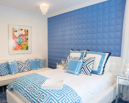 Contemporary Blue Bedroom Ideas Tufted Bed Headboard White Bed With Stylish  Pillows Sensational Crystal Chandelier Mirrored Bedside Tables