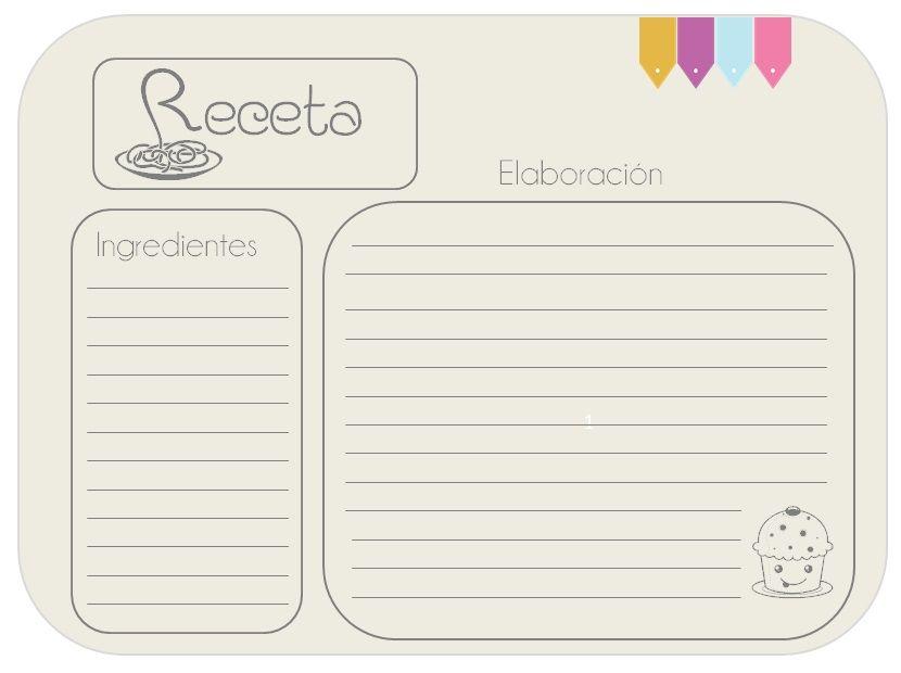 Imprimibles para recetas imprimibles imprimibles for Plantillas de cocina