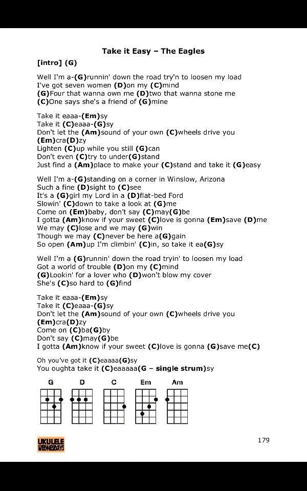Take it easy. Eagles ukulele chords More   Guitar   Pinterest ...