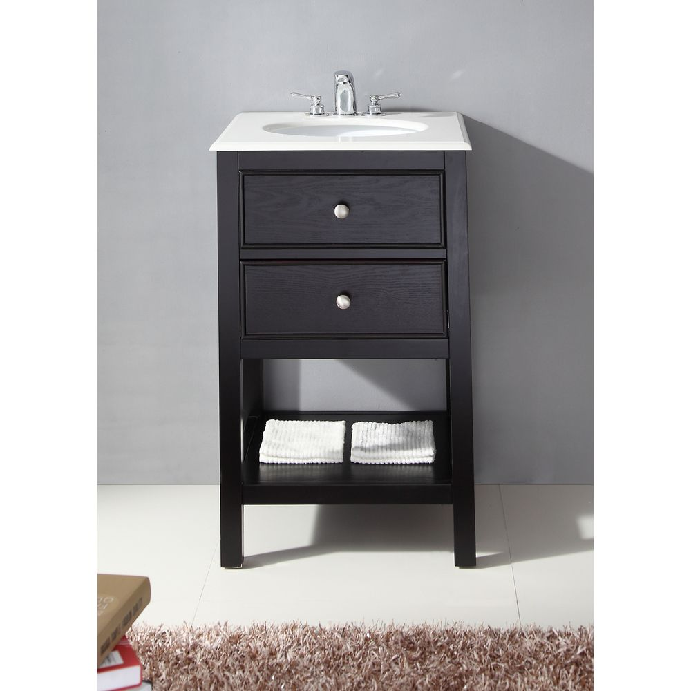 Wyndenhall Fairfield 20 Inch Contemporary Bath Vanity In Black With Bombay White Engineered Quartz Marble Top Bath Vanities Vanity Bathroom Vanity
