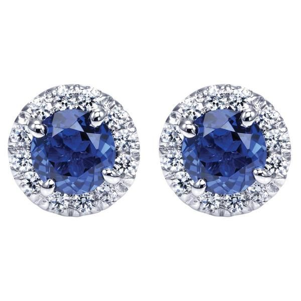 14kt white gold round sapphire/diamond stud earrings. Earrings are 0.90 ct total weight sapphire surrounded by 0.16 ct diamonds. Inventory number: 152-36-783; priced at approximately $1,695.00