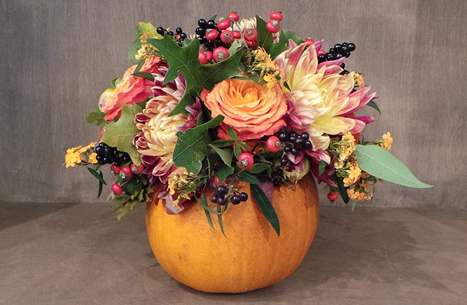 How To Make An Autumnal Flower Arrangement Pumpkin Floral