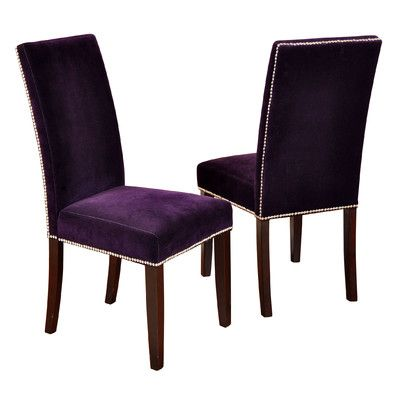 Style Craft Velvet Parson Chairs With Chrome Nail Head Trim