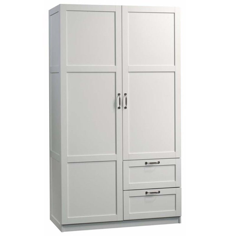 Pemberly Row 71 2 Drawer Wardrobe Armoire In White Wardrobe Furniture Armoire Wardrobe Cabinets