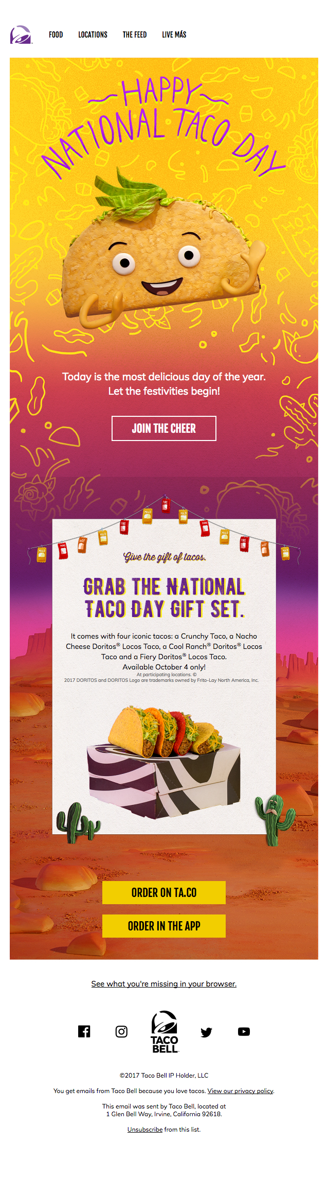 Adorable Taco Email From Taco Bell Email Design Inspiration Email Design Taco Bell