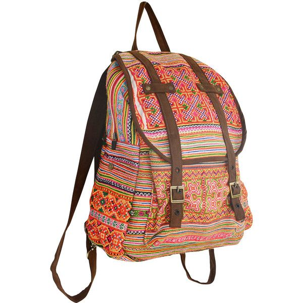 SPECIAL PRICE Orange Backpack Book Bag Handmade Hmong Vintage Fabric... ($40) ❤ liked on Polyvore