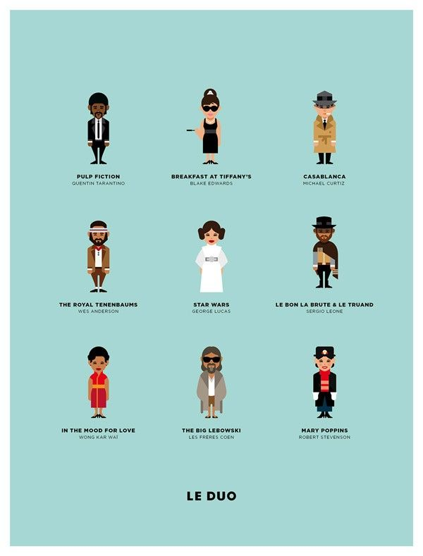 Character Design Agency : Poster design with famous movie characters by le duo of