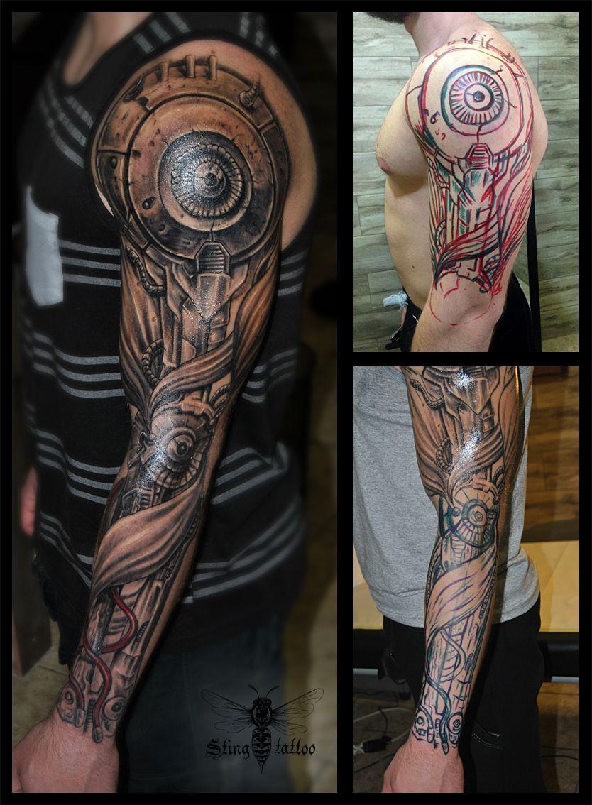 Biomechanical, free hand Tatuagem braço mecânico