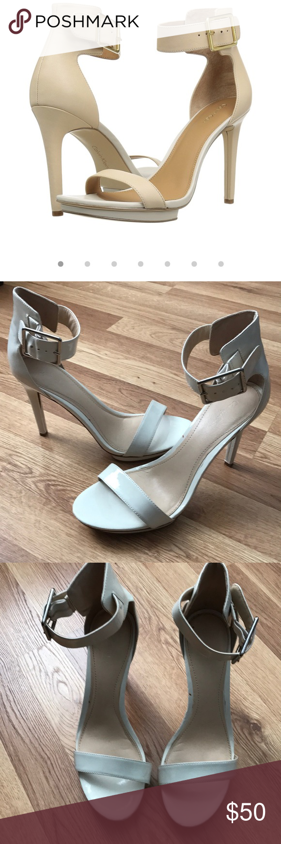 66b222170fe Calvin Klein Vivian white ankle strap sandals 🎀soft white patent leather  🎀Buckle ankle 🎀Wear imperfections pictured 🎀Always authentic Calvin  Klein Shoes ...