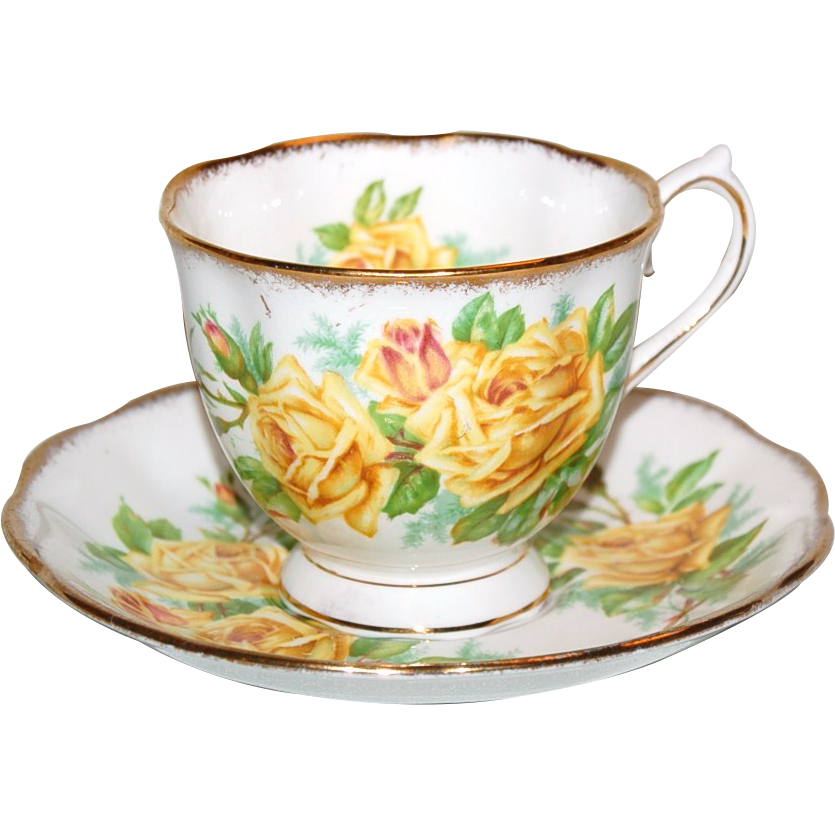 Yellow Roses Royal Albert Tea Rose Cup Saucer Tea Tea Cups Vintage Tea Cups
