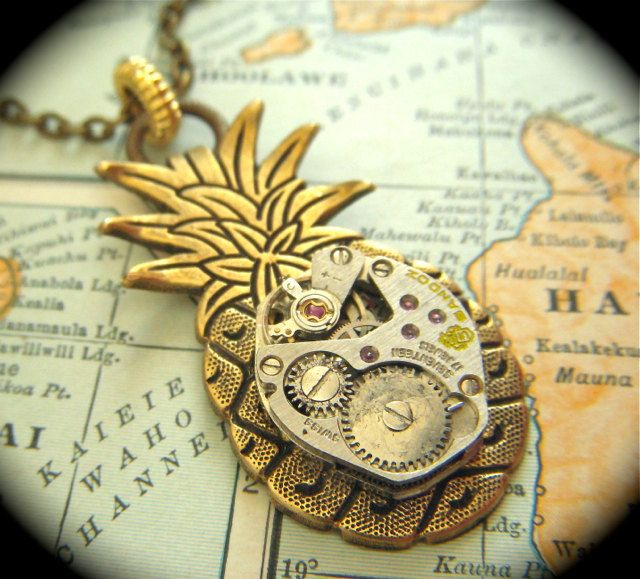 Steampunk Necklace Jewelry Rustic Brass Pineapple Gothic Victorian Antique Vintage Watch Movement Tropical Tiki Steam Punk Style