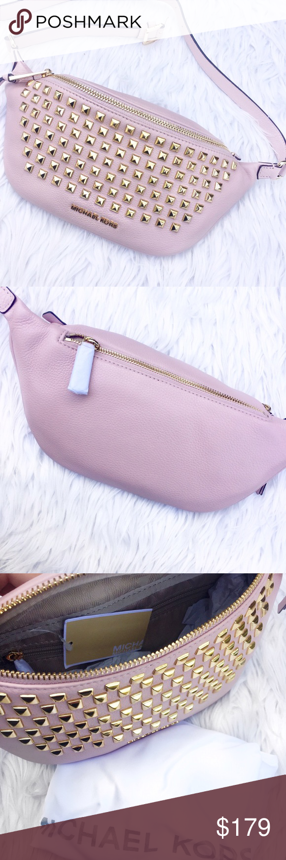 e0dbc38f746fde Michael Kors • Studded Belt Bag Ballerina pink studded fanny pack, dust bag  included! Perfect for a day of shopping. 16