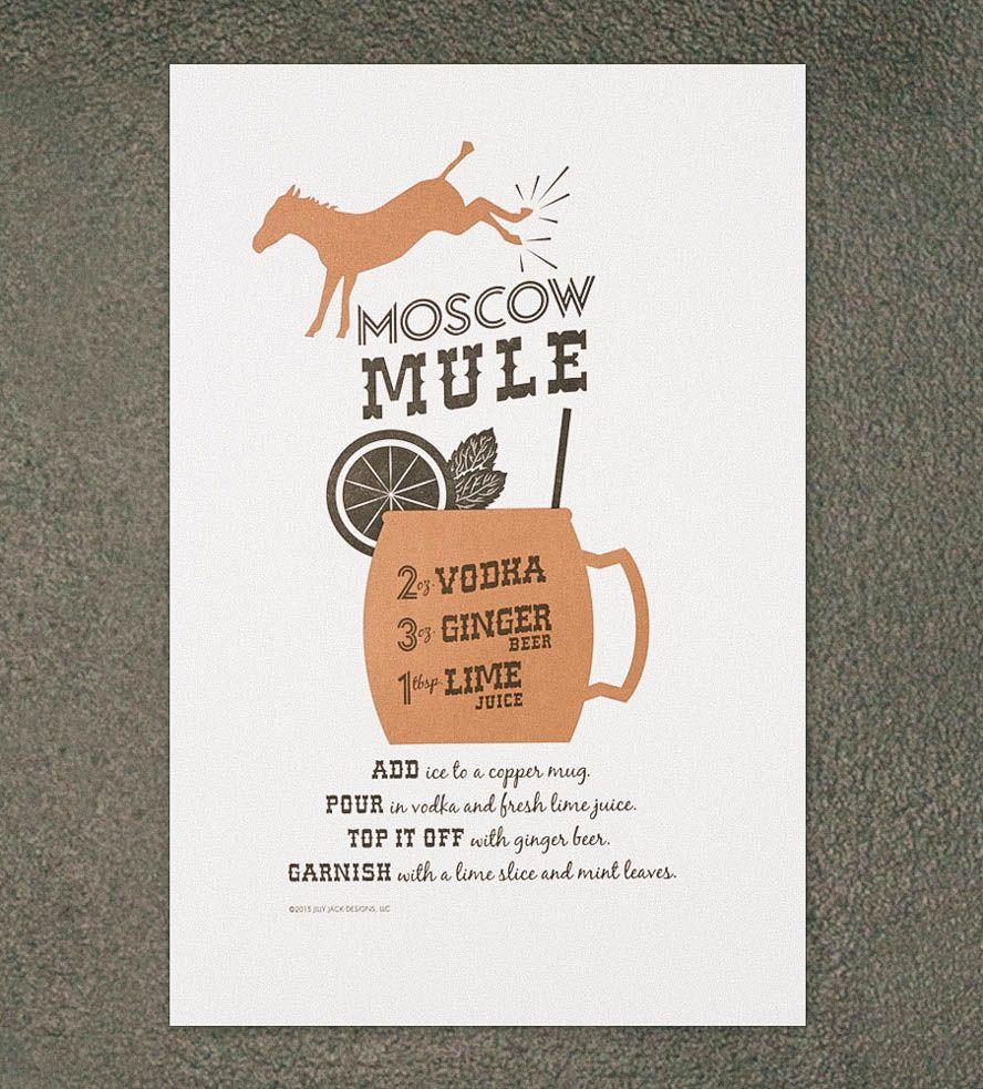 Moscow Mule Recipe Letterpress Art Print | Moscow mule ...