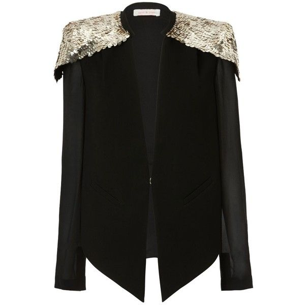 Sass & Bide The Starring Role Caplet Style Jacket With Embellished... ($790) ❤ liked on Polyvore