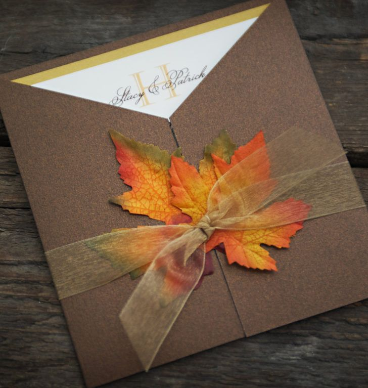 Wedding Fall Wedding Invitation Custom Leaf Wedding