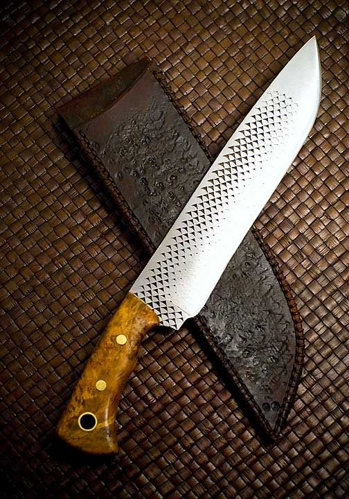 This Was Forged To Shape 13 Oal Nicholson File Clay Hardened No Hamon Need Work On That Bigleaf Maple Burl Bras Hand Forged Knife Forged Knife Knife