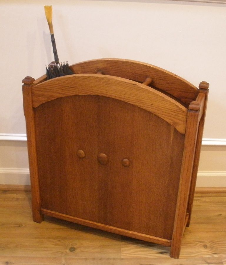 Birch Lane Abington Carston Solid Pine Lighted Display: Antique English Oak Walking Cane Umbrella Hall Stand. $385