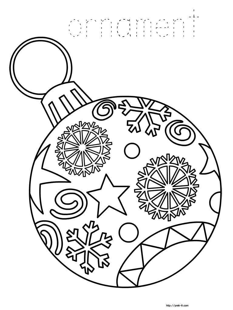 Free Printable Christmas Ornament Coloring Picture Name Tag