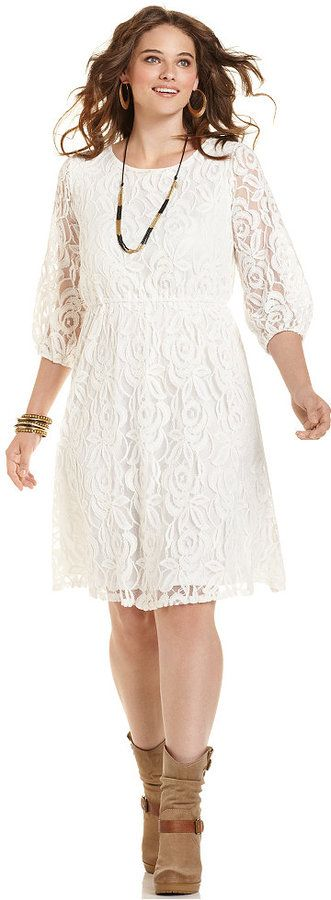 I think I actually have this dress gonna pair it with my Cowboy boots :) (Plus Size Lace Dress)