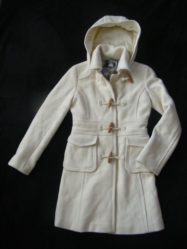 Womens J Crew Wool Toggle Button Trench Coat 0 Cream Winter Detachable Hood  #JCrew #Trench