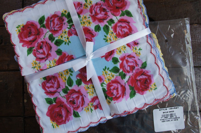 Floral Hankies Lot/Pkg. of 12 ~ Unused ~ Vintage by smileitsvintage on Etsy