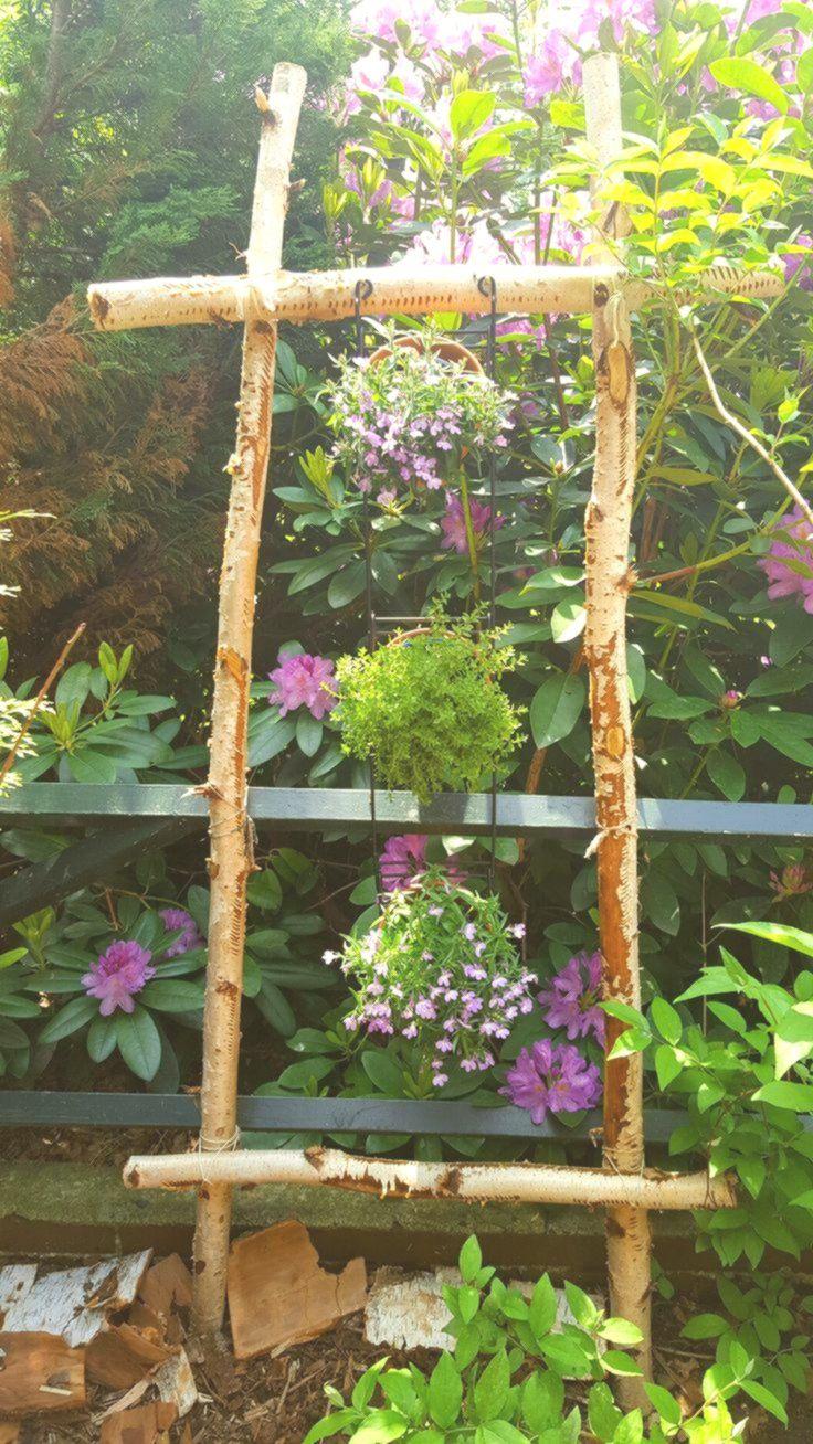 Garten Deko Mit Birke Diy Holz Gestell Fur Blumen Garten Deko Garten Diy Holz