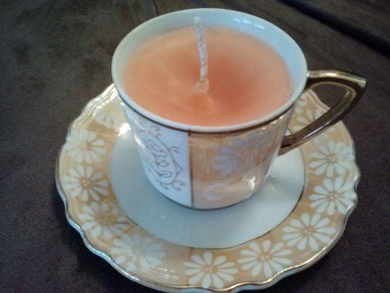 Handcrafted Teacup Candle by ThriftyNiki on Etsy