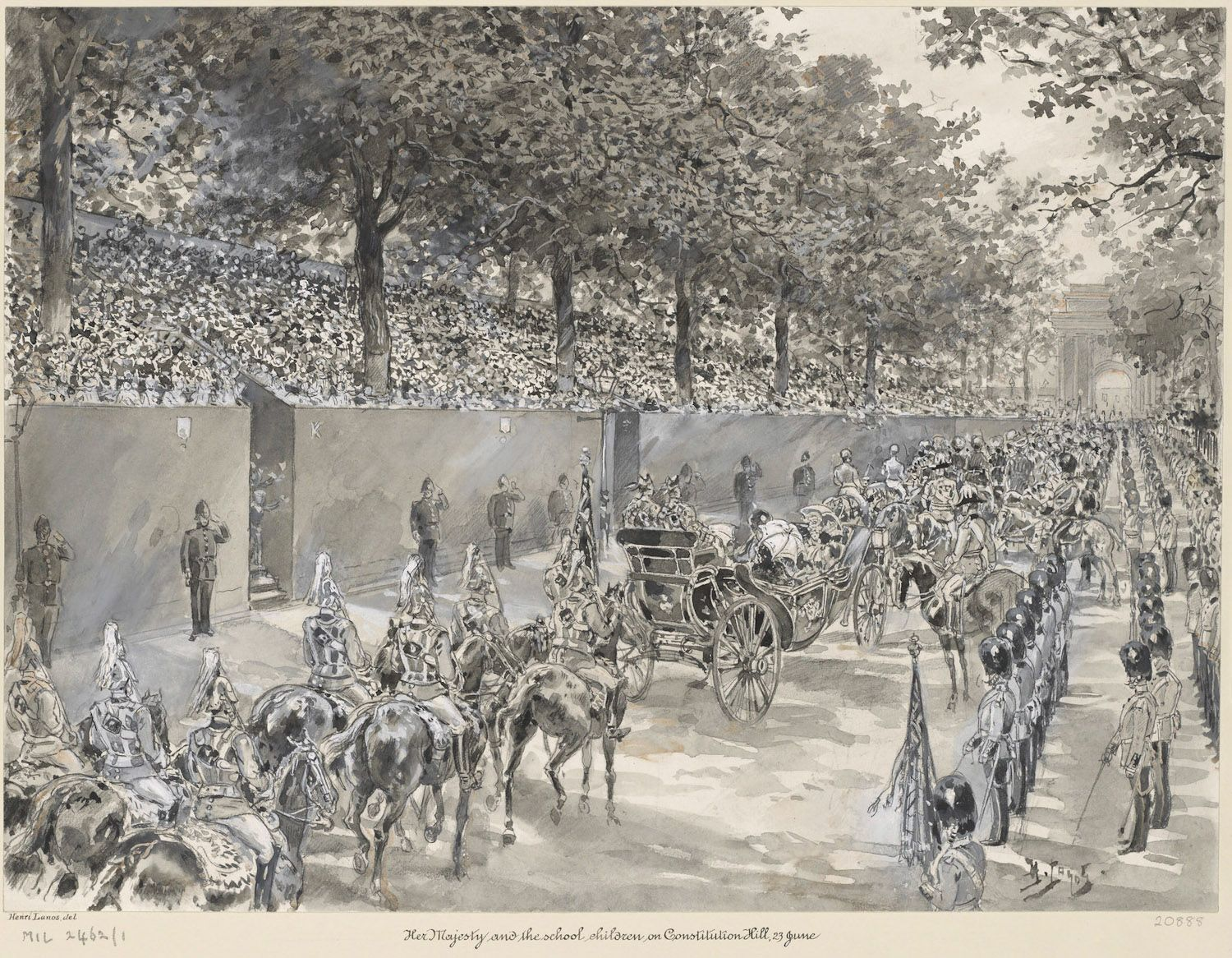 On her departure from Buckingham Palace for Windsor on 23 June 1897, Queen Victoria was greeted by 10,000 children from various elementary schools of London, who lined Constitution Hill by Hyde Park and sang three verses of 'God Save The Queen'.  Supplied by Royal Collection Trust  © HM Queen Elizabeth II 2012  RCIN 920888