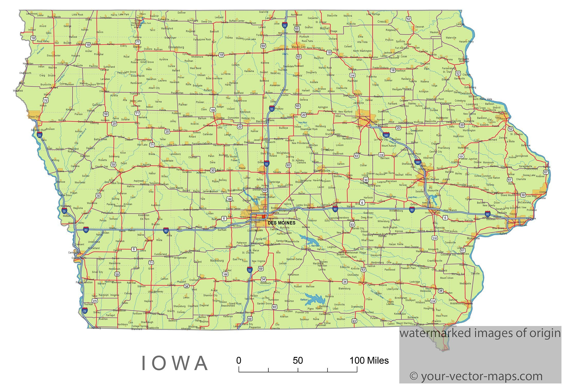 Iowa State Route Network Map Iowa Highways Map Cities Of Iowa - Us map with cities and rivers