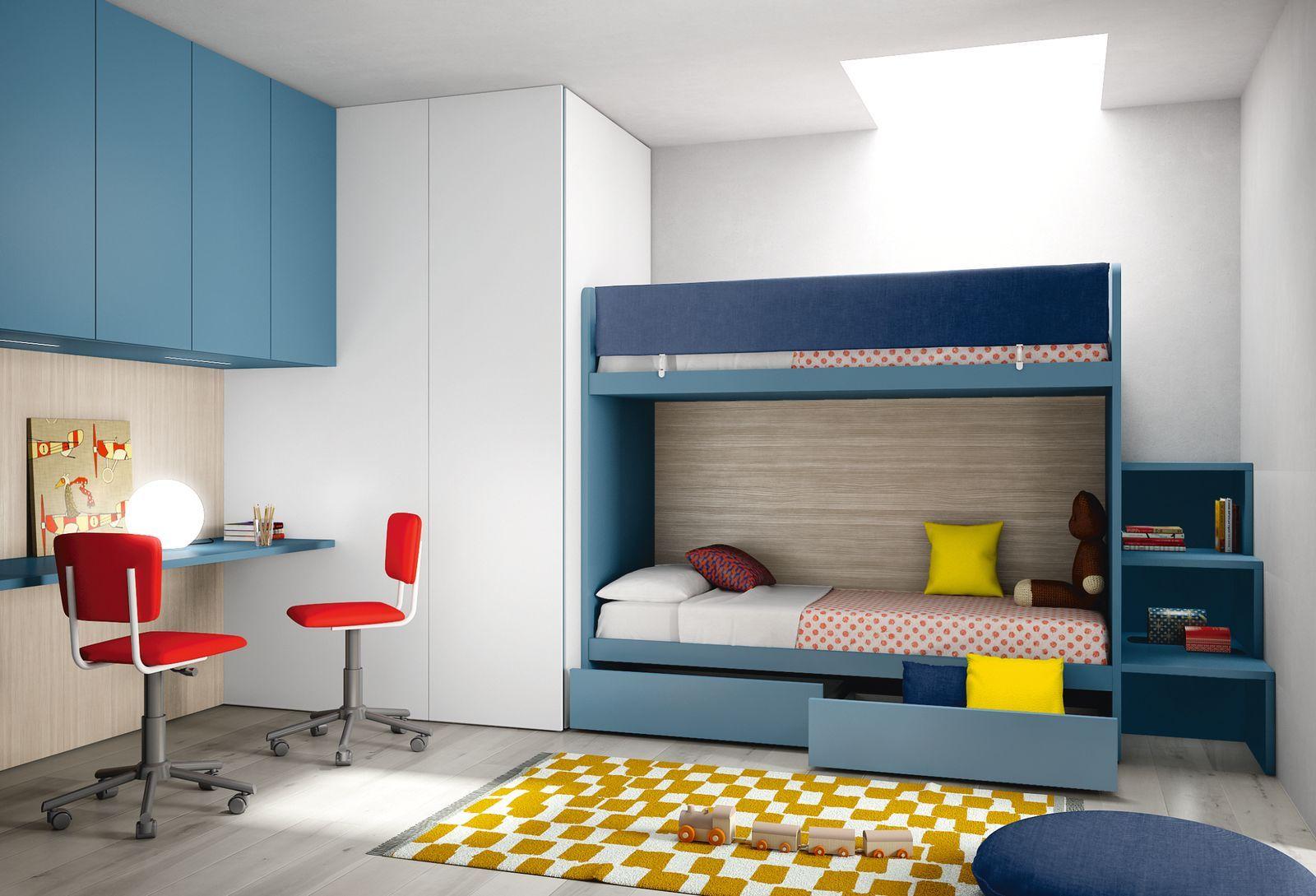Cameretta moderna design componibile su misura per bambini e